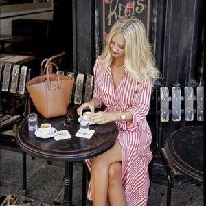 Zara Striped Button Down Tunic Midi Dress